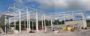 Construction image showing structural steelwork for Recycled Wood Pallet Block Factory. Eirbloc located in Lissarda, Cork