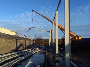 Construction Stage: Installation of Portal Frame Rafters