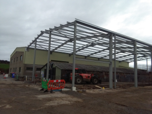 Construction Stage: Structural Steel frame showing columns, rafters, wind bracing and purlins