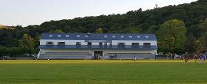 Front elevation view of Naomh Aban GAA club located in Ballyvourney, Cork