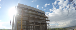 Front elevation view of M1 drying tower during construction. Nutricia Infant Nutrition Ltd. located in Macroom, Cork