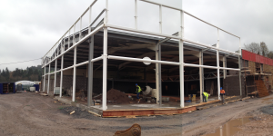 Construction of an Extension to the Existing Warehouse to form part of the New Vehicle Showroom, Kinsale Road, Cork. Steel Frame
