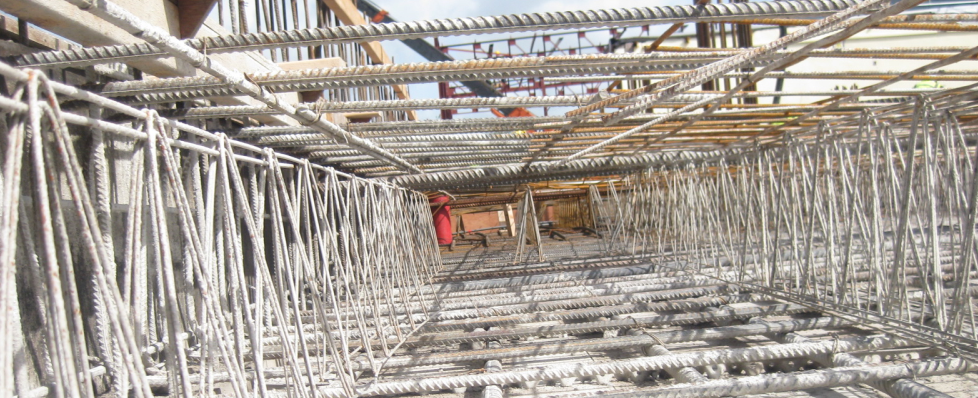 View of concrete reinforment steel, showing top and bottom steel and spacers