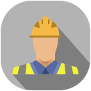 project management flat icon. On site engineer